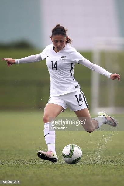 Claudia Bunge of New Zealand in action during the Oceania U19 Womens Championship match between New Zealand and Samoa at Ngahue Reserve on July 21...