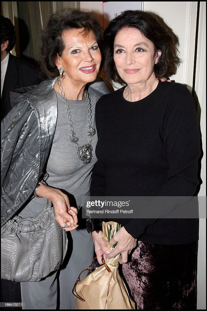 claudia cardinale and anouk aimee at last performance of alain delon and anouk aimee in ar