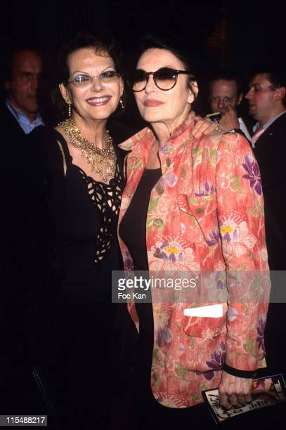 Claudia Cardinale and Anouk Aimee during 'Une Vie Paris' Tribute to Dalida Exhibition Preview Party at Mairie de Paris in Paris France