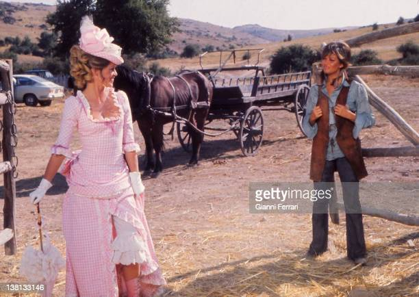 Claudia Cardinale and Brigitte Bardot during the filmation of the movie 'Las Petroleras' near Madrid directed by Christian Jacque 3rd July 1971...