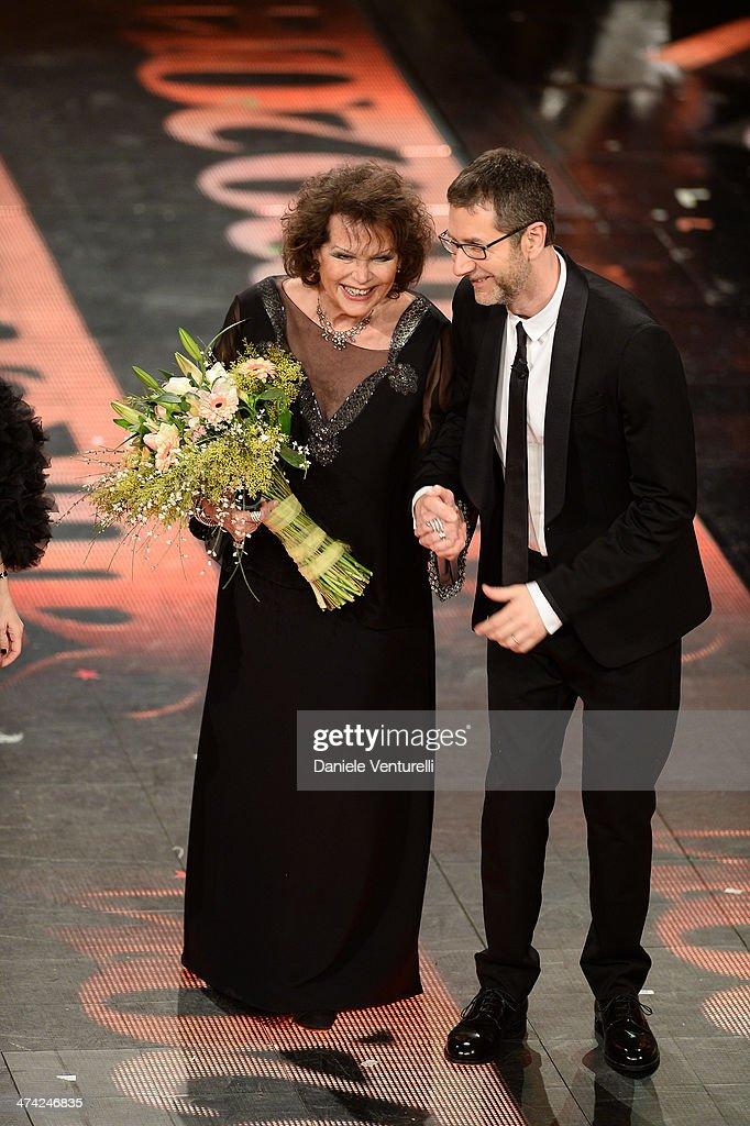 Claudia Cardinale and Fabio Fazio attend closing night of the 64th Festival di Sanremo 2014 at Teatro Ariston on February 22, 2014 in Sanremo, Italy.