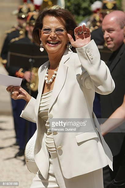 Claudia Cardinale arrives at the Elysee palace for the traditional garden party of the French Bastille Day Military parade on the ChampsElysee on...