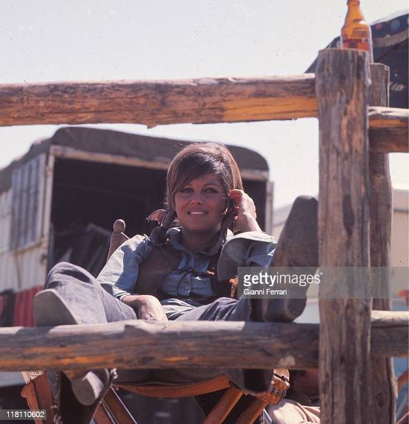 Claudia Cardinale during the filmation of the movie 'Las Petroleras' near Madrid directed by Christian Jacque Madrid Spain