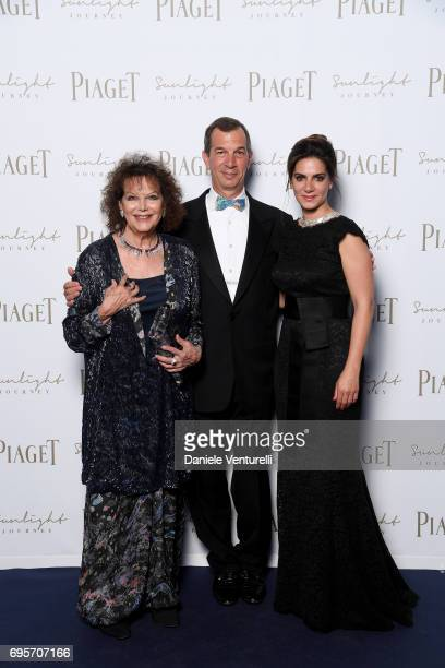 Claudia Cardinale Philippe LeopoldMetzger and Chabi Nouri attend Piaget Sunlight Journey Collection Launch on June 13 2017 in Rome Italy
