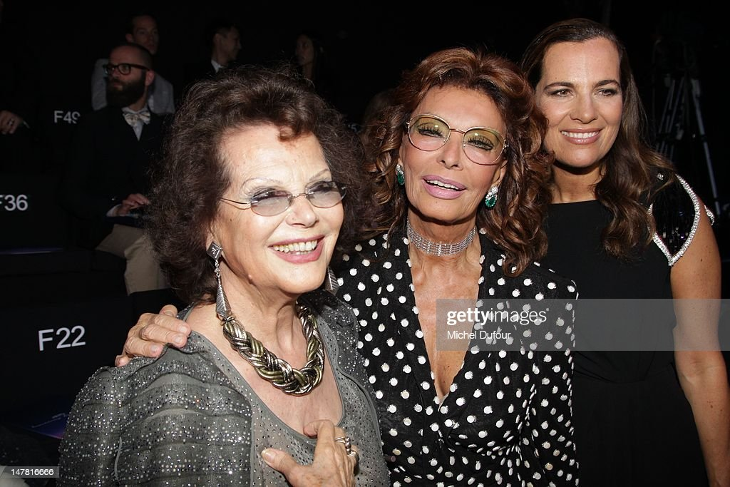 Claudia Cardinale, Sophia Loren and Roberta Armani attend the Giorgio Armani Prive Haute-Couture Show as part of Paris Fashion Week Fall / Winter 2012/13 at Palais de Chaillot on July 3, 2012 in Paris, France.