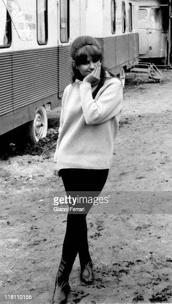 Claudia Cardnale in a break from the filmation of the movie 'Circus World' Madrid Spain