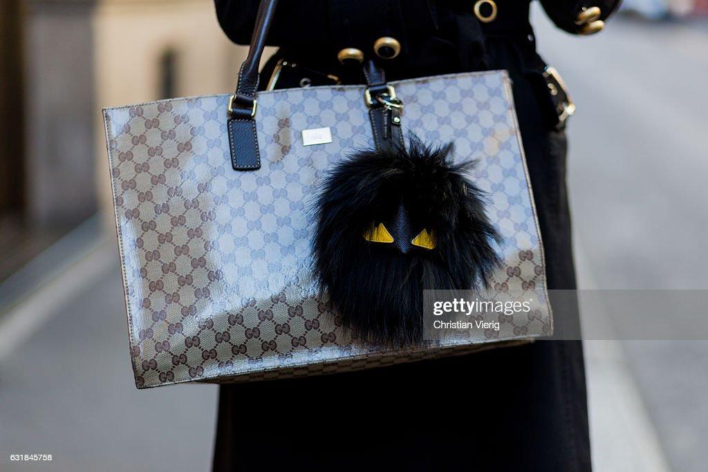 gucci bags fall 2017. claudia corradiono wearing a black dolce \u0026 gabbana coat, gucci bag, fendi accessories at bags fall 2017
