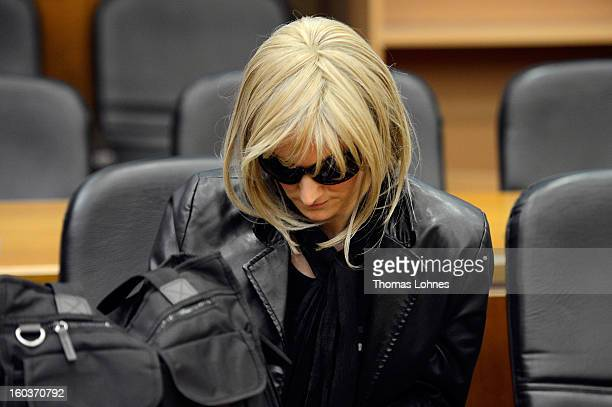 Claudia D the former girlfriend of weather anchor Joerg Kachelmann waits for the start of the second day of Kachelmann's civil suit against her at...