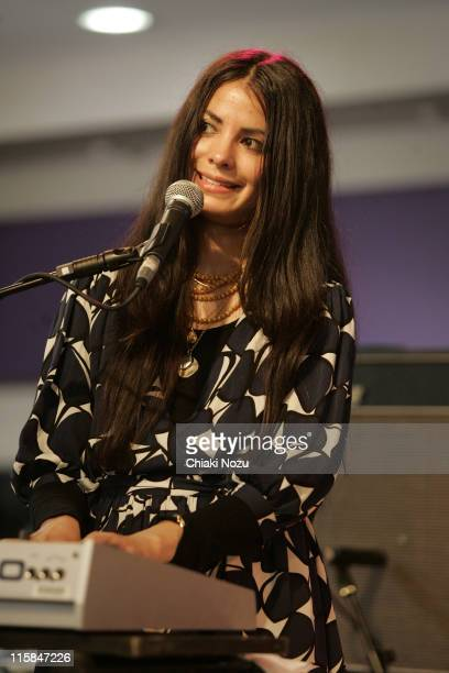 Claudia Deheza of School of Seven Bells performs at the launch of The Mojo Honours List at HMV on May 6 2009 in London England