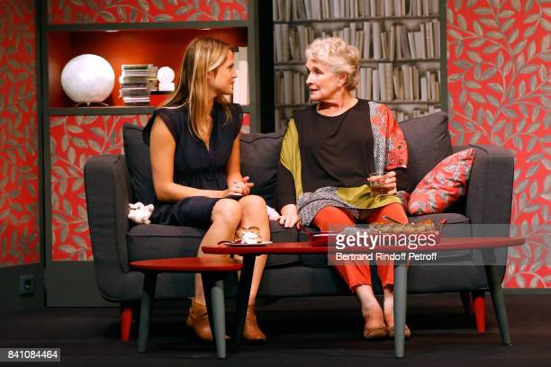 Claudia Dimier and MarieChristine Barrault perform in 'Confidences' Press Theater Play at Theatre Rive Gauche on August 28 2017 in Paris France