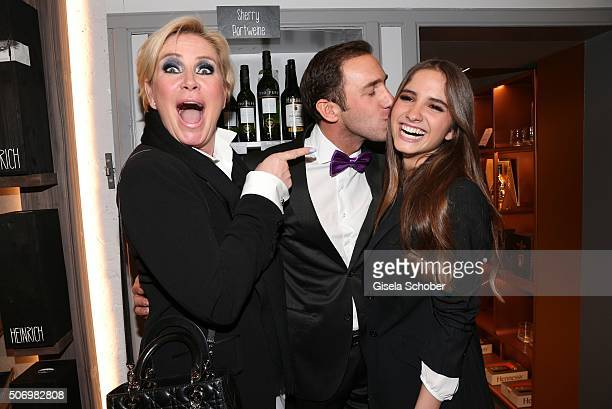 Claudia Effenberg and her daughter Lucia Strunz and Marcel Remus during the Smoking Cocktail at Kaefer Atelier on January 26 2016 in Munich Germany