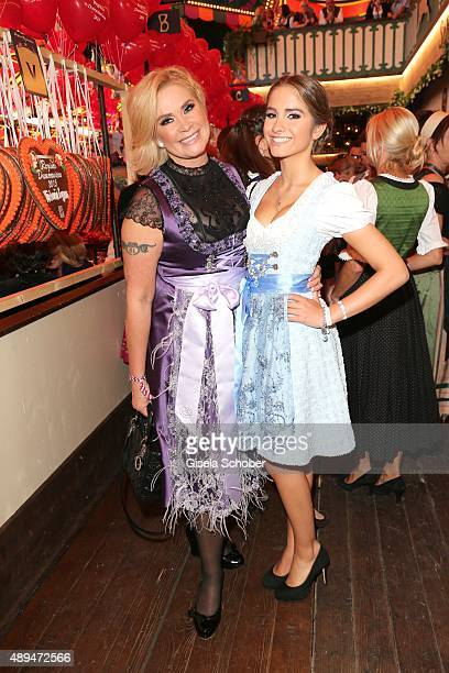 Claudia Effenberg and her daughter Lucia Strunz attends the Regines Sixt Damen Wiesn during the Oktoberfest 2015 on September 21 2015 in Munich...