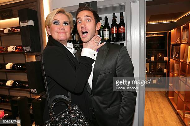 Claudia Effenberg and Marcel Remus during the Smoking Cocktail at Kaefer Atelier on January 26 2016 in Munich Germany