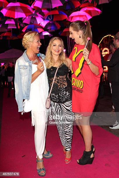 Claudia Effenberg Regina Halmich and Verena Kerth attend the P1 summer party at P1 on July 22 2014 in Munich Germany