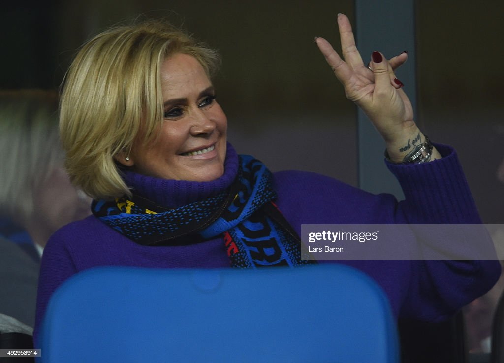 Claudia Effenberg wife of head coach Stefan Effenberg is seen during the Second Bundesliga match between SC Paderborn and Eintracht Brauschweing at...