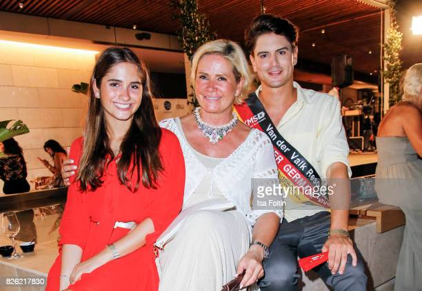 Claudia Effenberg with her daughter Lucia Strunz and Mr Germany 2017 Dominik Bruntner during the Remus Lifestyle Night on August 3 2017 in Palma de...