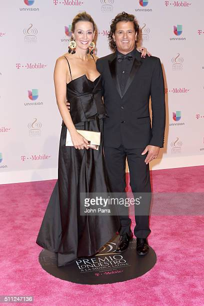 Claudia Elena Vásquez and Carlos Vives attend Univision's 28th Edition of Premio Lo Nuestro A La Musica Latina on February 18 2016 in Miami Florida