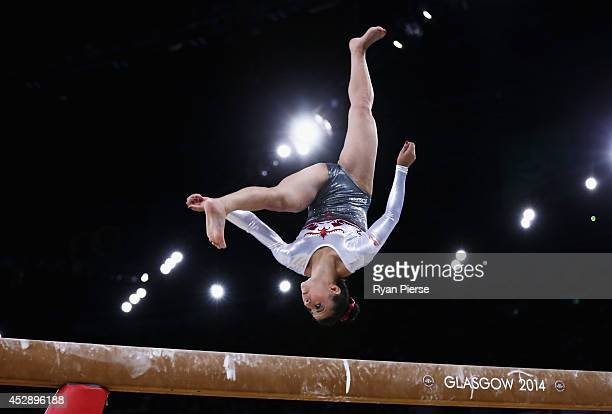 Claudia Fragapane of England competes on the Beam during the Women's Team Event at SECC Precinct during day six of the Glasgow 2014 Commonwealth...