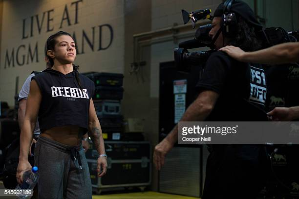 Claudia Gadelha enters the building before The Ultimate Fighter Finale at MGM Grand Garden Arena on July 8 2016 in Las Vegas Nevada