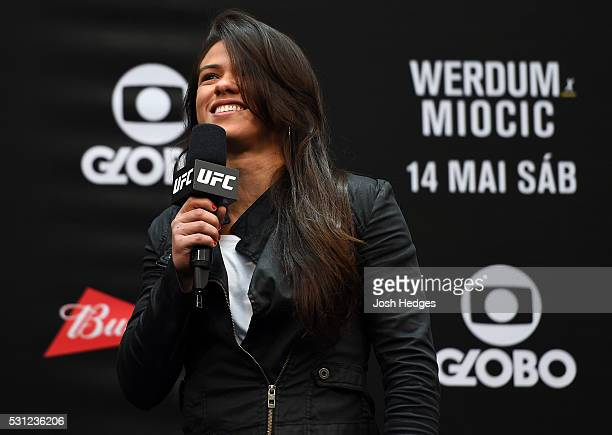 Claudia Gadelha interacts with fans during a QA session before before the UFC 198 weighin at Arena da Baixada stadium on May 13 2016 in Curitiba...