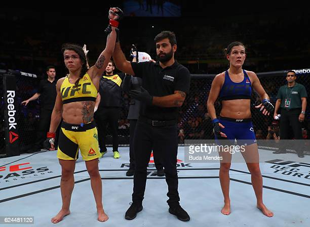 Claudia Gadelha of Brazil celebrates victory over Cortney Casey of the United States after their women's strawweight bout at the UFC Fight Night...