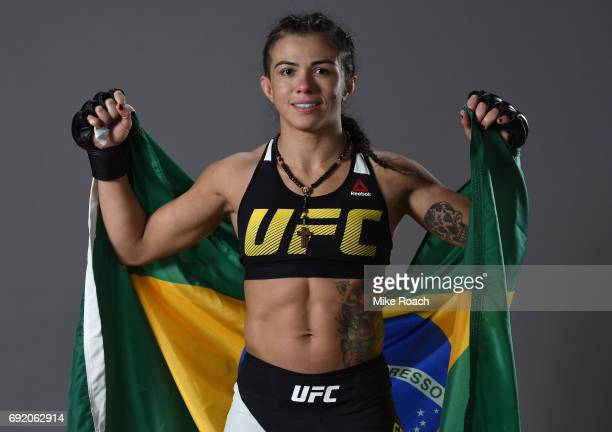 Claudia Gadelha of Brazil poses for a portrait backstage after her victory over Karolina Kowalkiewicz during the UFC 212 event at Jeunesse Arena on...