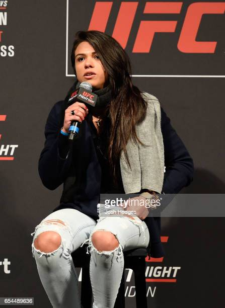 Claudia Gadelha of Brazil speaks to the fans and media during a QA session prior to the UFC Fight Night weighin at The O2 arena on March 17 2017 in...