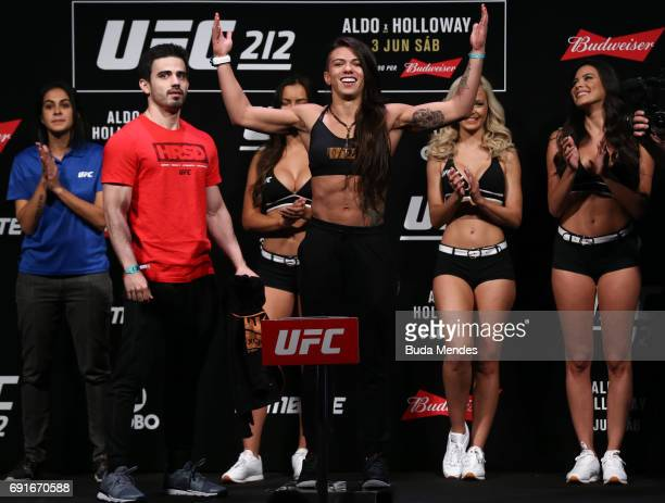 Claudia Gadelha of Brazil steps on the scale during the UFC 212 weighin at Jeunesse Arena on June 02 2017 in Rio de Janeiro Brazil