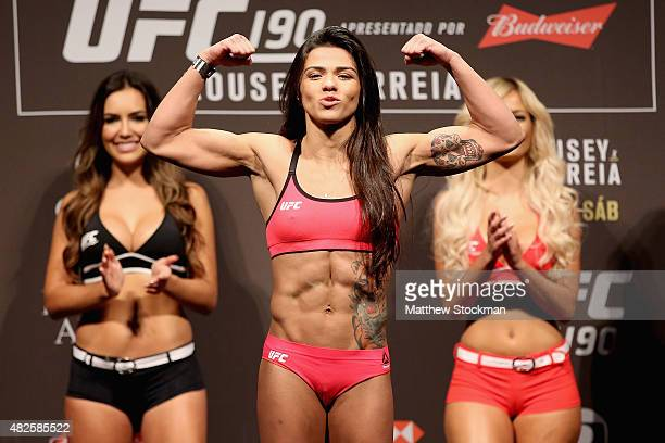 Claudia Gadelha of Brazil steps onto the scale during the UFC 190 Rousey v Correia weighin at HSBC Arena on July 31 2015 in Rio de Janeiro Brazil