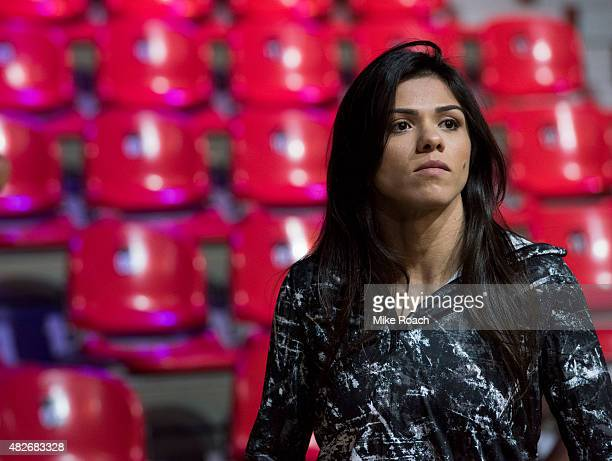 Claudia Gadelha of Brazil waits backstage during the UFC 190 weighin event at the HSBC Arena on July 31 2015 in Rio de Janeiro Brazil