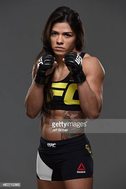 Claudia Gadelha poses for a portrait during a UFC photo session at the Sheraton Rio Hotel on July 28 2015 in Rio de Janeiro Brazil