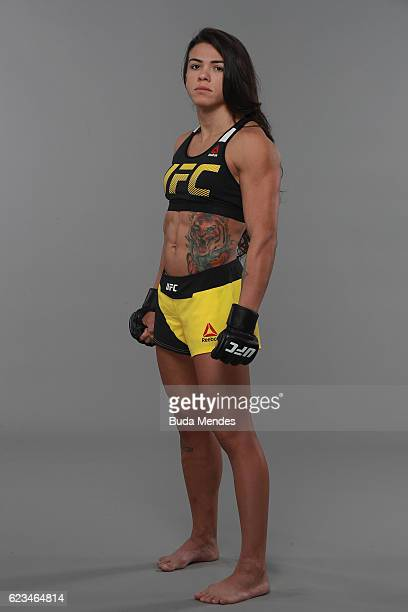 Claudia Gadelha poses for a portrait during a UFC photo session at the Renaissance Hotel on November 15 2016 in Sao Paulo Brazil