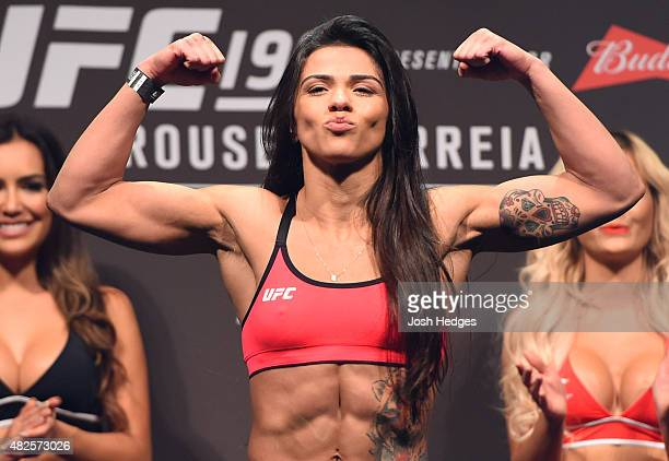 Claudia Gadelha steps onto the scale during the UFC 190 weighin inside HSBC Arena on July 31 2015 in Rio de Janeiro Brazil
