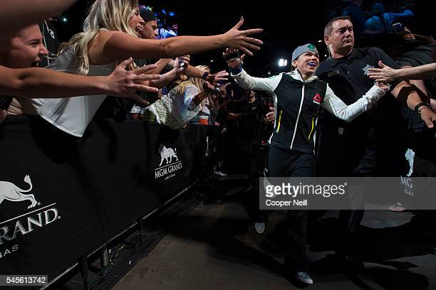 Claudia Gadelha walks to the Octagon during The Ultimate Fighter Finale at MGM Grand Garden Arena on July 8 2016 in Las Vegas Nevada