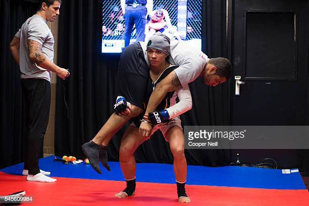 Claudia Gadelha warms up in the locker room before The Ultimate Fighter Finale at MGM Grand Garden Arena on July 8 2016 in Las Vegas Nevada