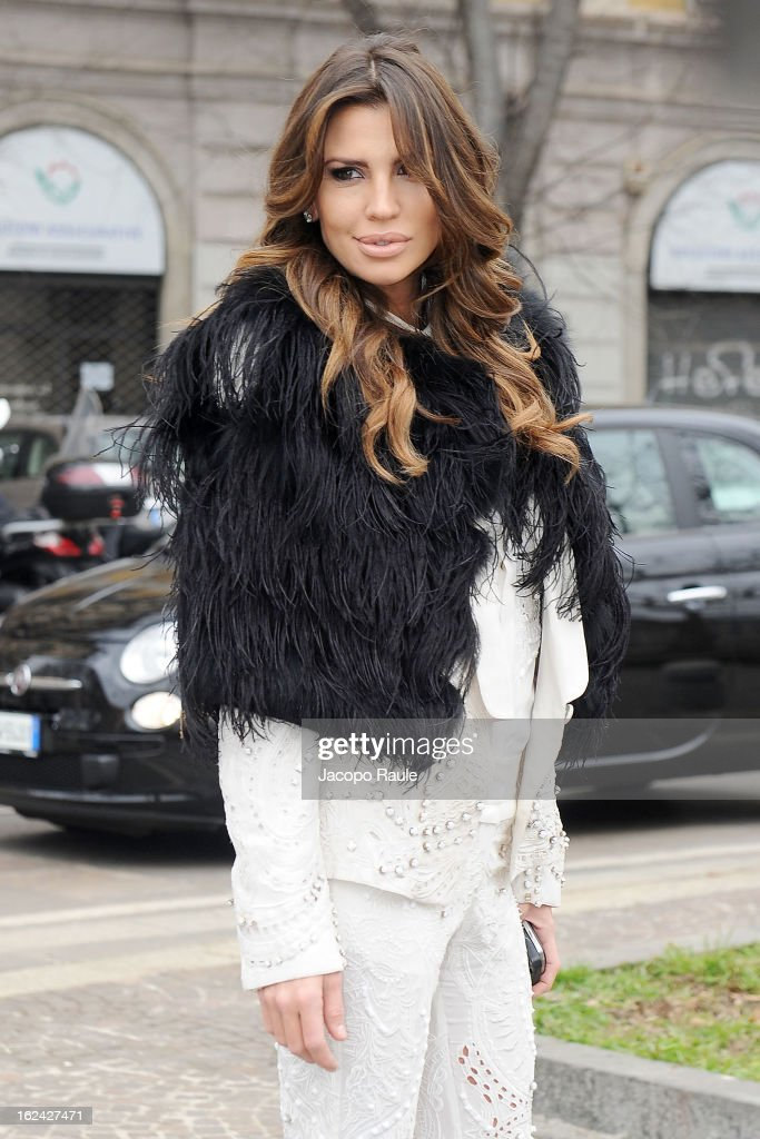 Claudia Galanti arrives at the Roberto Cavalli fashion show as part of Milan Fashion Week Womenswear Fall/Winter 2013/14 on February 23, 2013 in Milan, Italy.