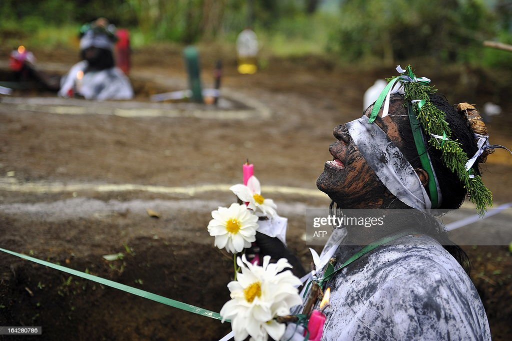 Claudia Gaviria who claims to be possessed by spirits attends a ritual of exorcism on June 1 in La Cumbre Valle del Cauca department Colombia Hermes...