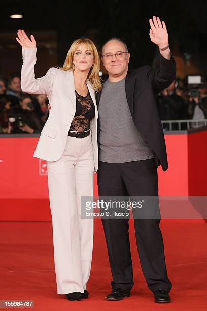 Claudia Gerini and Carlo Verdone attend the 'Carlo' Premiere during the 7th Rome Film Festival at the Auditorium Parco Della Musica on November 10...