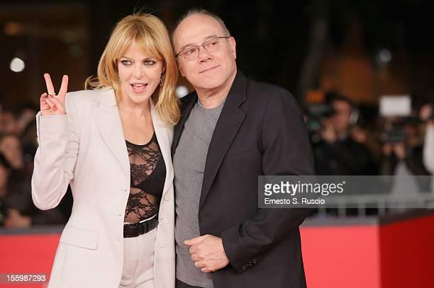 Claudia Gerini and Carlo Verdone attend the 'Carlo' Premiere during the 7th Rome Film Festival at the Auditorium Parco Della Musica on November 10...
