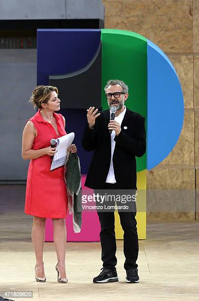 Claudia Gerini and Massimo Bottura attend the Opening Ceremony Expo 2015 at Fiera Milano Rho on May 1 2015 in Milan Italy