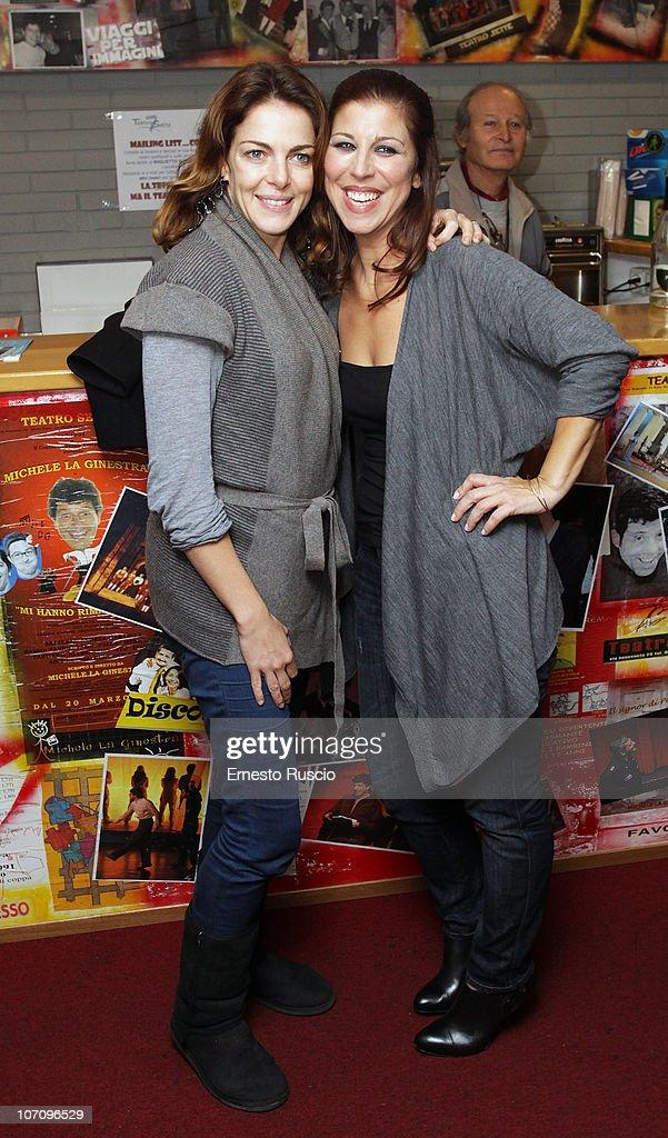 Claudia Gerini and Michela Andreozzi attend the 'A Letto Dopo Il Carosello' theatre premiere at Teatro 7 on November 23, 2010 in Rome, Italy.
