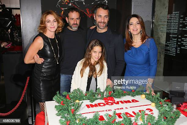 Claudia Gerini Fausto Brizzi Rosa Enginoli Raul Bova and Rosalia Porcaro attend the 'Indovina Chi Viene A Natale' party at Ducati Caffe on December...