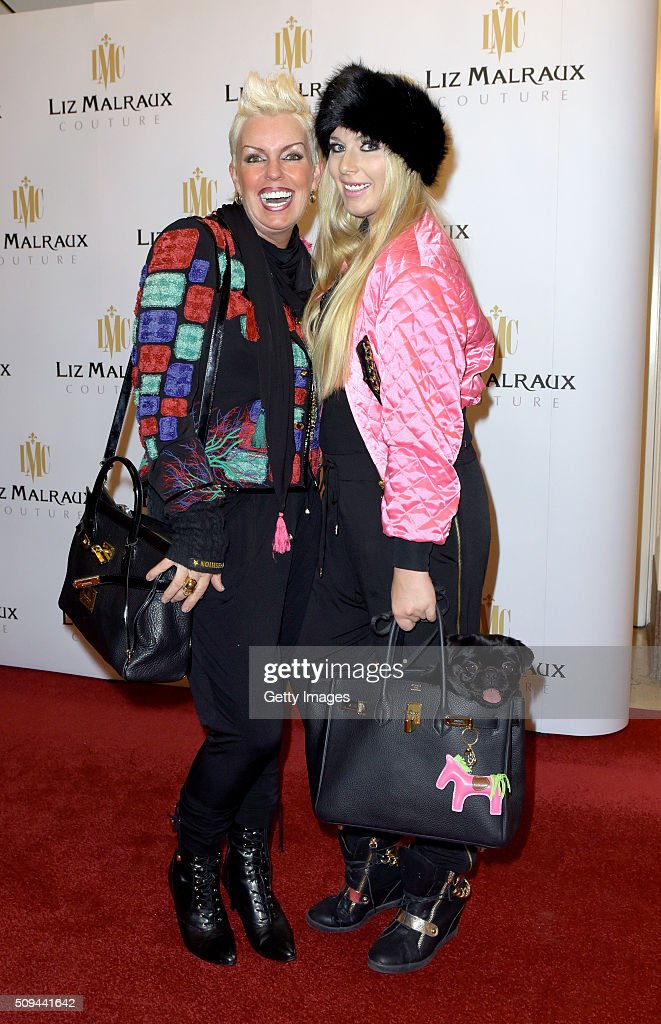 Claudia Guelzow, daughter Yolie Kendra and dog Sunshine attend Liz Malraux Fashion Show at Hotel Atlantic on February 10, 2016 in Hamburg, Germany.