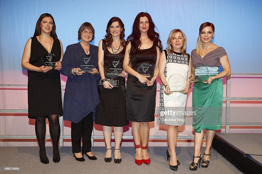 Claudia Helming, Hildegard Schooss, Andrea Kolb, Anja Kossiwakis, Andrea Galle and Regina Halmich with awards at the Victress Day Gala 2013 at the MOA Hotel on April 8, 2013 in Berlin, Germany.