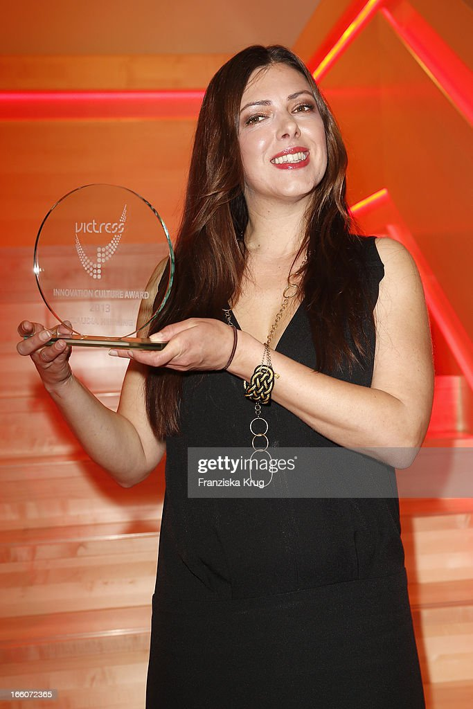 Claudia Helming receives an award at the Victress Day Gala 2013 at the MOA Hotel on April 8, 2013 in Berlin, Germany.