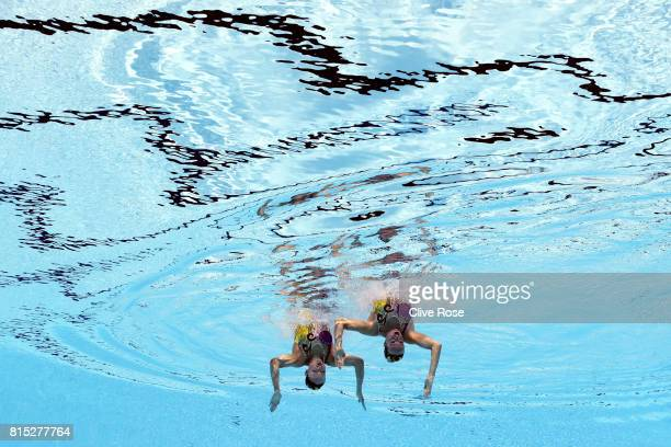 Claudia Holzner and Jacqueline Simoneau of Canada compete during the Synchronised Swimming Duet Technical final on day three of the Budapest 2017...