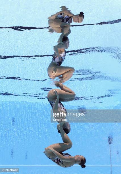 Claudia Holzner and Jacqueline Simoneau of Canada compete during the Synchronized Swimming Duet Free final on day seven of the Budapest 2017 FINA...