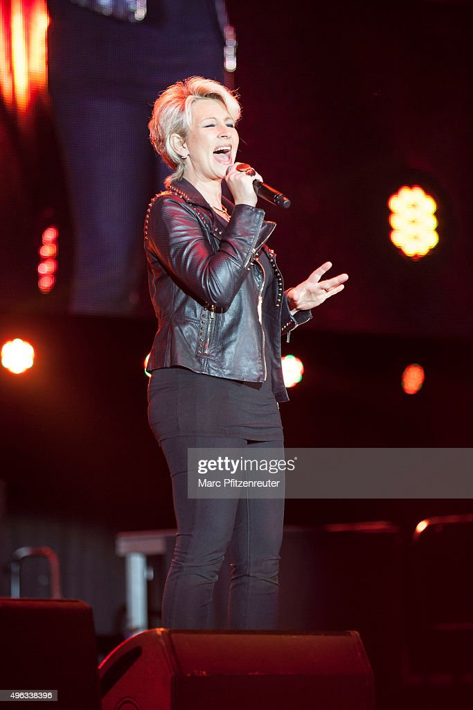 Claudia Jung performs onstage during the 'Schlager-Starparade' at the Koenig-Pilsener-Arena on November 8, 2015 in Oberhausen, Germany.
