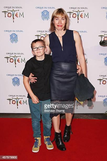 Claudia Karvan and Albee Sparks arrives at Cirque du Soleil TOTEM Sydney Premiere on October 28 2014 in Sydney Australia