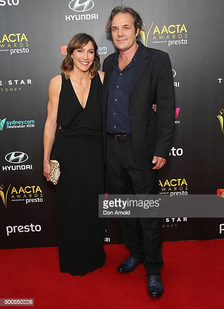 Claudia Karvan and Jeremy Sparks pose on the red carpet for the 5th AACTA Awards at The Star on December 9 2015 in Sydney Australia